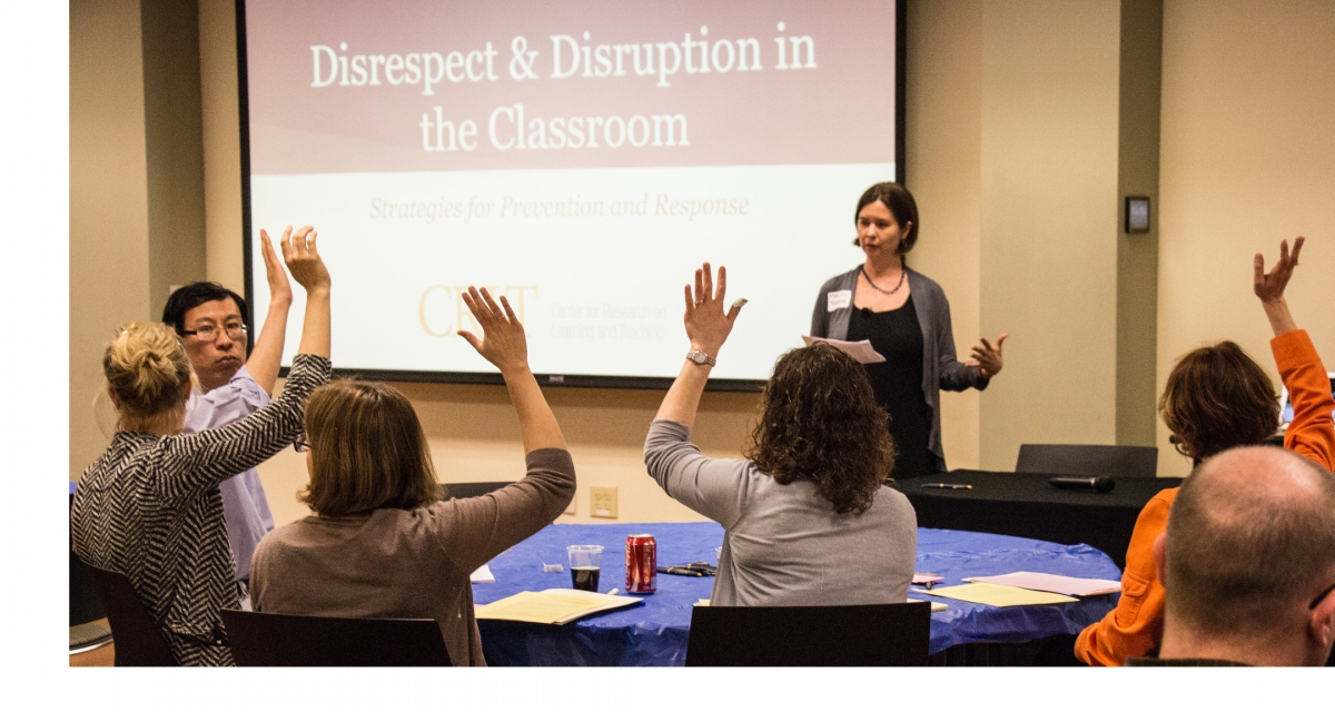 People at a session regarding Disrespect and Disruption in the Classroom